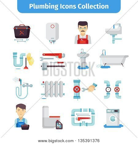 Plumber flat icons collection of bath tub shower water pipes and tools kit abstract isolated vector illustration.