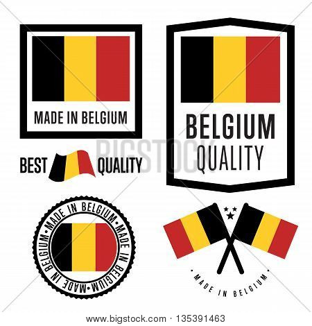 Made in Belgium label set. Vector Belgium flag. Symbol of quality. Manufacturing by Belgium. Tags and sticker collection. Vintage and modern stamp.