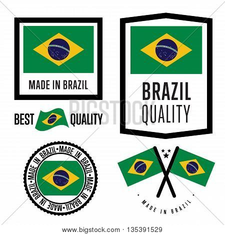 Made in Brazil label set. Vector Brazil flag. Symbol of quality. Manufacturing by Brazil. Tags and sticker collection. Vintage and modern stamp.