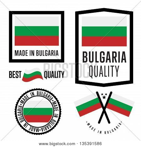 Made in Bulgaria label set. Vector Bulgaria flag. Symbol of quality. Manufacturing by Bulgaria. Tags and sticker collection. Vintage and modern stamp.