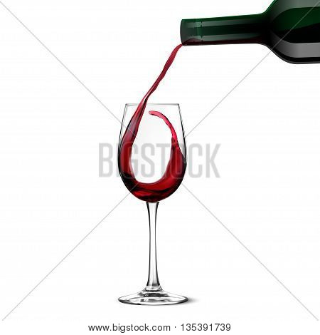Red Wine Pouring isolated on a white background