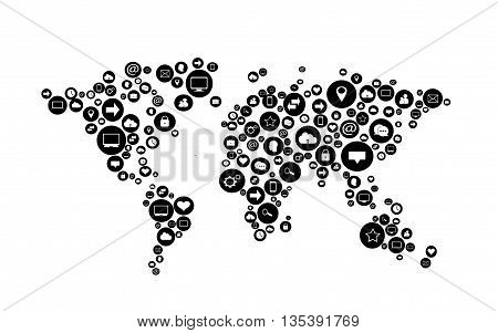 world map flat black color with social media icons