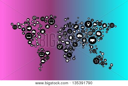 World map vector flat infographics with social media icons