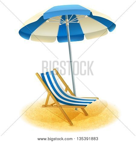 Deck chair with umbrella and beach sand in summer cartoon vector illustration