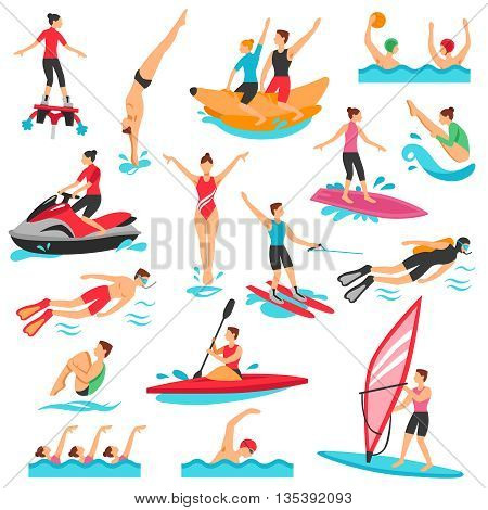 Water Sport Icons Set. Water Sport Vector Illustration. Water Sport Decorative Set.  Water Sport Design Set. Water Sport Flat Isolated Set.