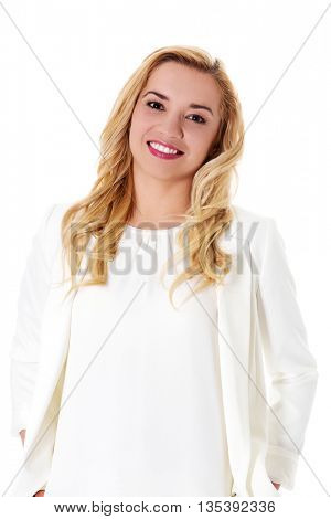 Portrait of attractive teenager girl smiling, over white.