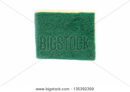 Dishwashing sponge on white background . (Scotch-Brite)