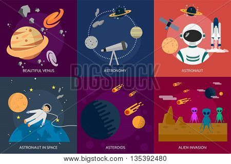 Space and Universe | set of great flat icons design illustration concepts for space, universe, galaxy, astrology, planet and much more.
