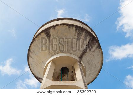 Water tank Old , water supply tank for agriculture with blue sky background