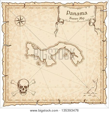 Panama Old Pirate Map. Sepia Engraved Template Of Treasure Map. Stylized Pirate Map On Vintage Paper