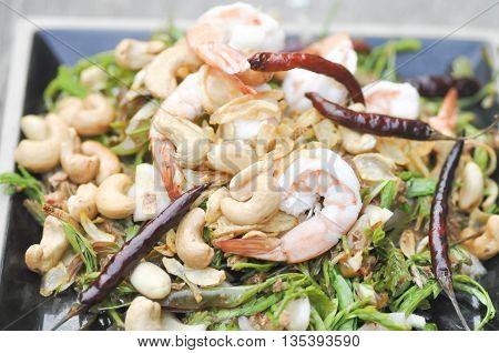 spicy shrimp and vegetable salad dish ,salad