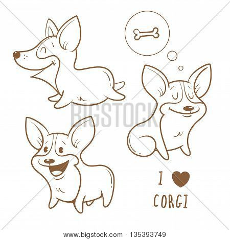 Cute cartoon dogs  breed Welsh Corgi Pembroke set. Children's illustration. Three little puppy.  Funny baby animal. Vector contour image no fill  and transparent background.
