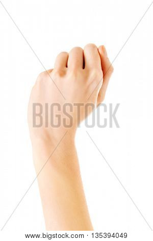 Woman's hand clenched into a fist, background white.