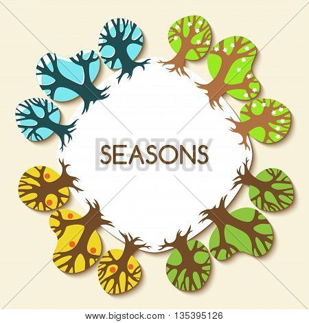 Picture with four seasons. Winter, spring, summer and autumn trees. Vector illustration.