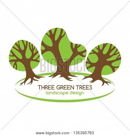 Three green trees logo for landscaping. Vector design template.