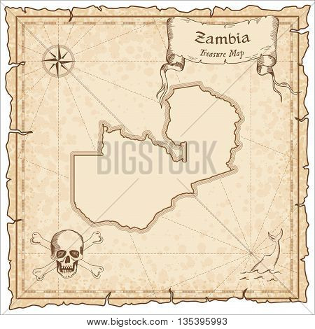 Zambia Old Pirate Map. Sepia Engraved Template Of Treasure Map. Stylized Pirate Map On Vintage Paper