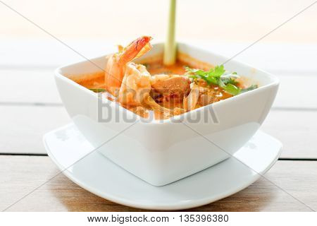 Tom yum soup shrimp hot and spicy  of Thai traditional food