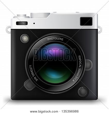 Black Camera with Lens realistic vector icon on white background