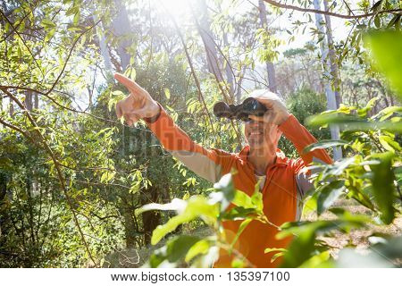 Mature man looking on binoculars on the wood