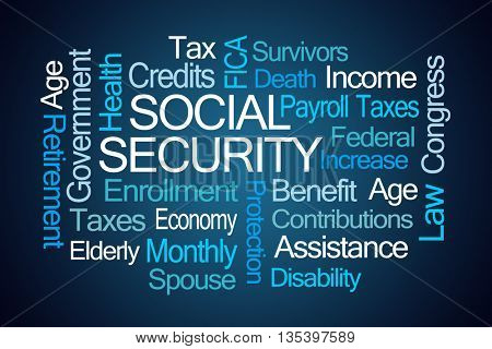 Social Security Word Cloud on Blue Background