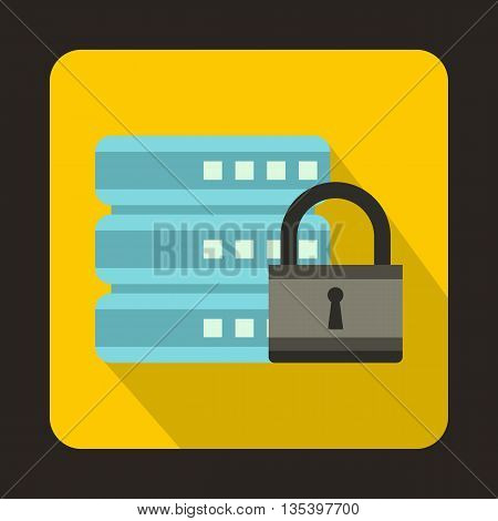 Database with padlock icon in flat style on a yellow background