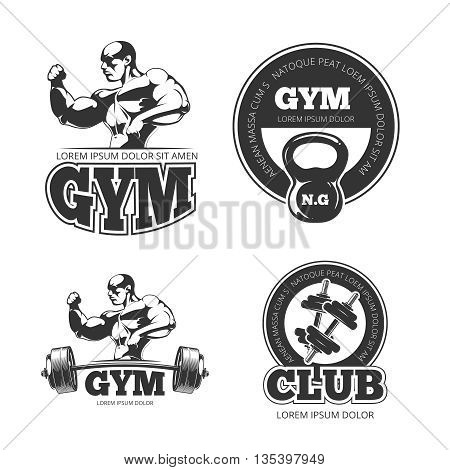 Fitness vector set of emblems, labels, badges, logos. Dumbbell and kettlebell logo, gym logo, fitness emblem, athletic fitness gym badge, bodybuilding gym fitness illustration