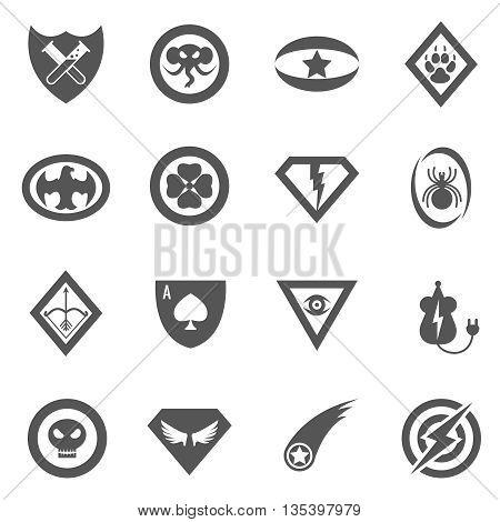 Superhero vector badges, emblems, logos, icons set. Badge superhero, logo superhero, emblem superhero set, sign superhero illustration