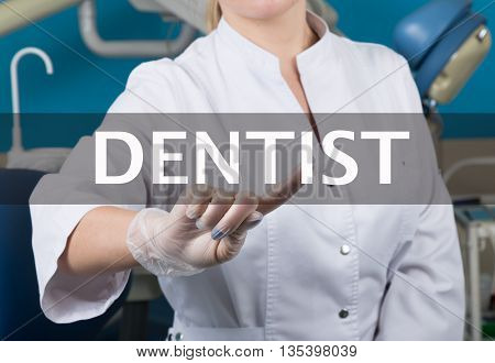 technology, internet and networking in medicine concept - medical doctor presses dentist button on virtual screens. Internet technologies in medicine.