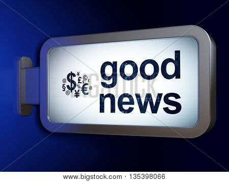 News concept: Good News and Finance Symbol on advertising billboard background, 3D rendering