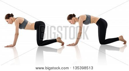 Young woman doing yoga exercise isolated on white