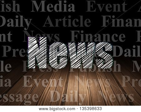 News concept: Glowing text News in grunge dark room with Wooden Floor, black background with  Tag Cloud