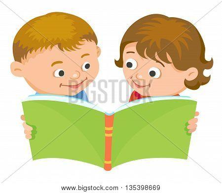 Cartoon kids reading book boy girl isolated vector illustration european