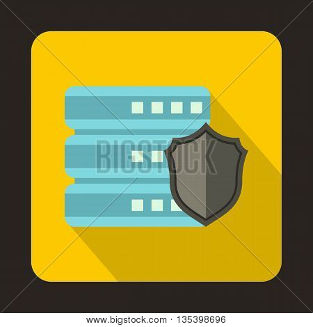 Database with gray shield icon in flat style on a yellow background