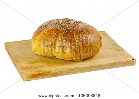 Bread on the wooden board isolated on white