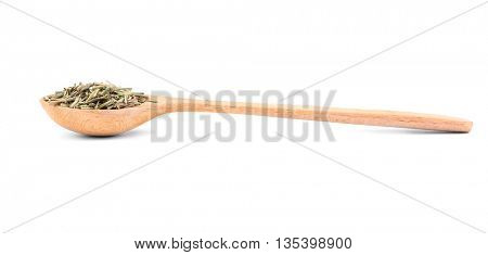 Dried rosemary in spoon on white background