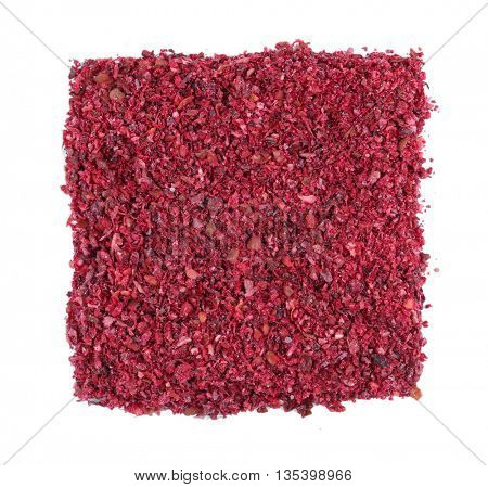 Square of dried sumac on white background