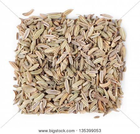 Square of fennel seeds  on white background