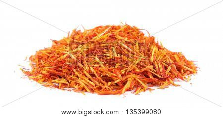 Dried saffron isolated on white