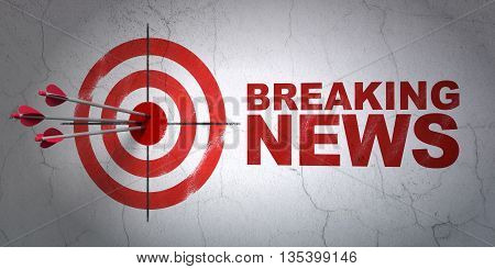 Success news concept: arrows hitting the center of target, Red Breaking News on wall background, 3D rendering