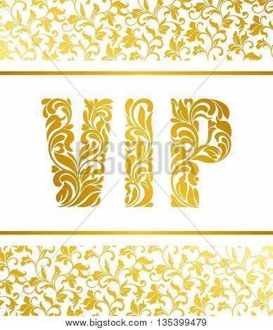 Template For A Banner With The Inscription Vip. Inscription Vip Of Floral Decorative Pattern.