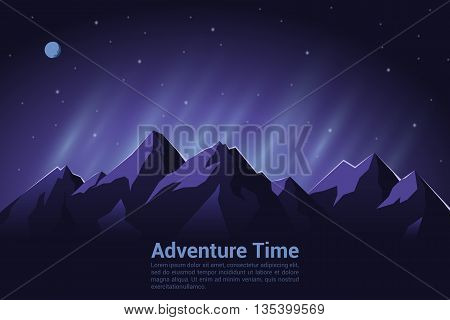 Colorful vector background of climbing trekking hiking mountaineering concept. Extreme sports outdoor recreation adventure in the mountains vacation.