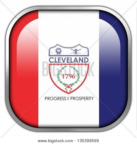 Flag Of Cleveland, Ohio, Square Glossy Button