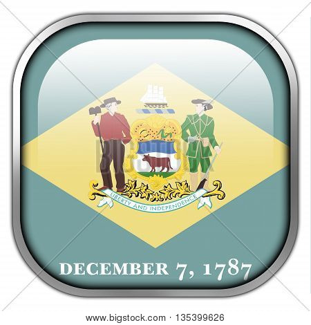 Flag Of Delaware State, Square Glossy Button