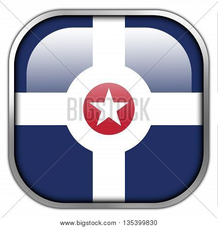 Flag Of Indianapolis, Indiana, Square Glossy Button