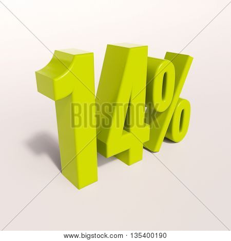3d render: green 14 percent, percentage discount sign on white, 14%