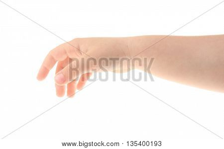 Child's hand gesturing, isolated on white