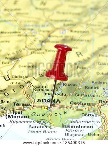 Map with pin set on Adana, Turkey.