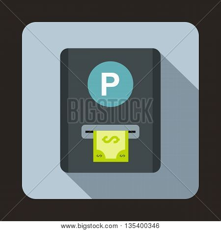 Parking fee icon in flat style on a light blue background
