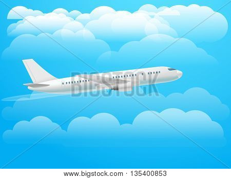 Flying aircraft in the sky. Flat design illustration