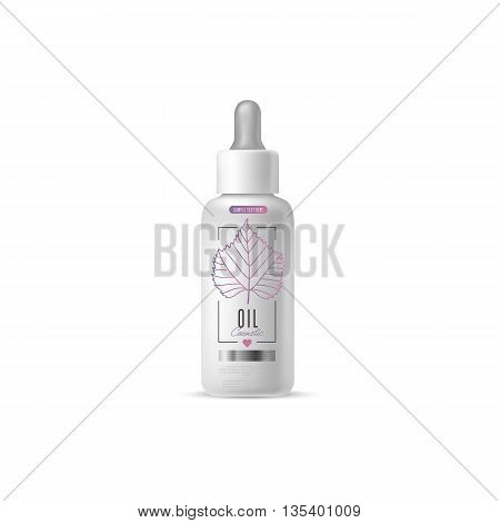 Harmony organic cosmetic brand of oil vector packaging template, body care product. Realistic bottle mock up set, isolated pack on white background.